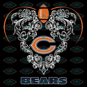 Love Bears Svg, NFL Svg, Cricut File, Clipart, Chicago Bears Svg, Football Svg, Sport Svg, Love Football Svg, Heart Svg, Png, Eps, Dxf