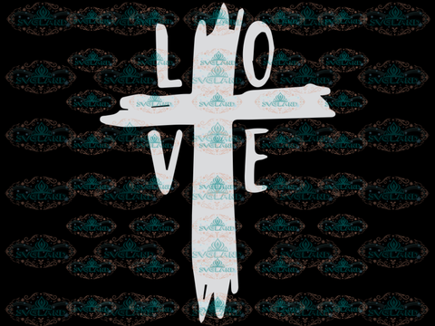 Love Cross Svg Distressed Easter Christian Svg Cricut Files Silhouette Digital