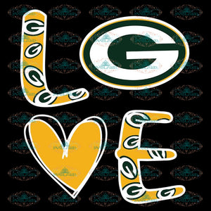Love Green Bay Packers Svg, Cricut File, Clipart, NFL Svg, Sport Svg, Love Football Svg, Png Eps, Dxf