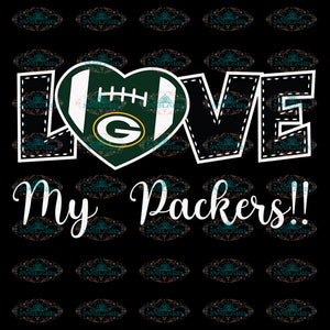 Love My Packers Svg, Cricut File, Clipart, NFL Svg, Green Bay Packers Heart Svg, Sport Svg, Football Svg, Love Football Svg, Png, Eps, Dxf