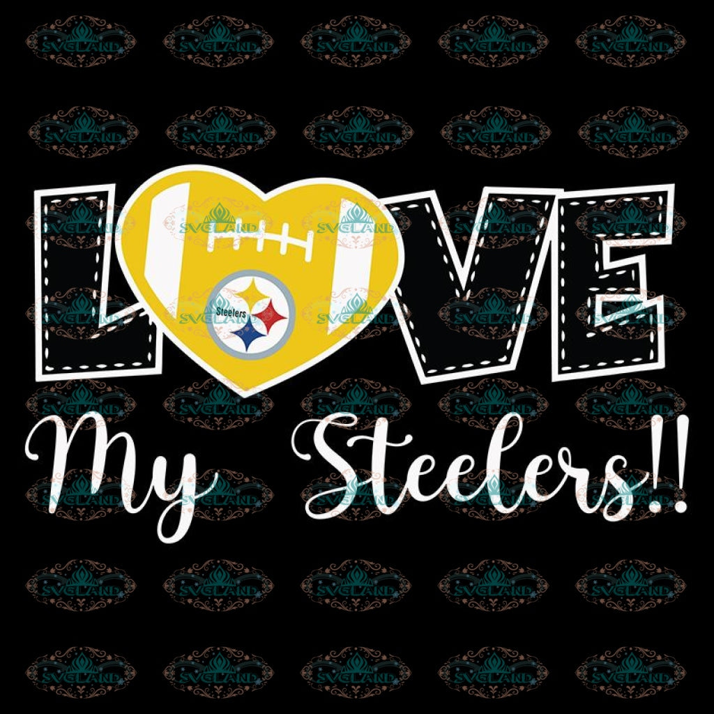 Love My Steelers Svg, Cricut File, Clipart, NFL Svg, Pittsburgh Steelers Heart Svg, Sport Svg, Football Svg, Love Football Svg, Png, Eps, Dxf