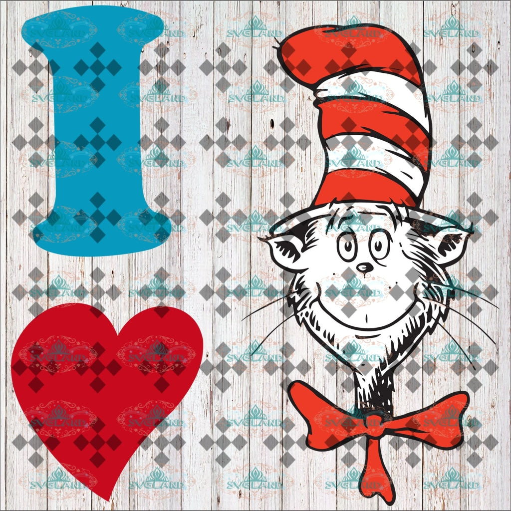 Love Svg Love Cat Fishes Dr Seuss On Hat Quotes Digital