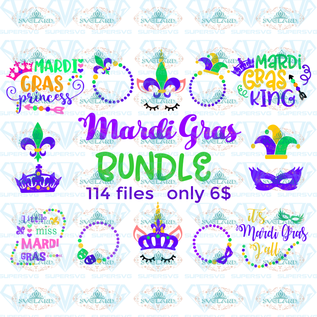 Mardi Gras Bundle Svg Monogram Orleans Grass Cut File Digital