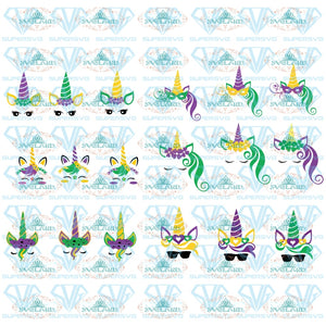 Mardi Gras Unicorn Svg Files Mardi Gras Unicorn Clipart For Cricut Digital