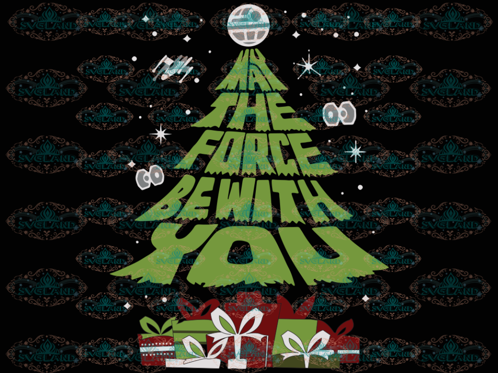 May The Force Be With You Merry Christmas Trees Design Winter Christmas Gift Outfit Png Digital