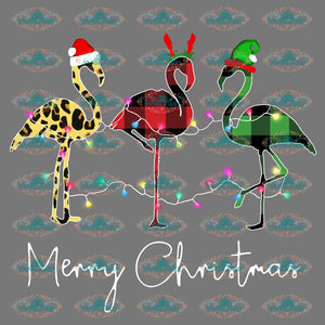 Merry Christmas Lights Flamingo Santa Claus Hat Winter Reindeer Png Digital