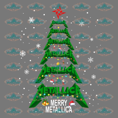 Merry Metallica Christmas Trees Hand Sign Christmas Gift Outfit Png Digital