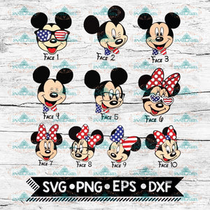 Mickey and Minnie, 4th of July svg, Disney Svg, Matching Family Fourth of July, Bundle Svg