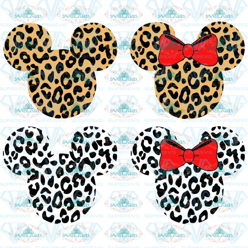 Mickey Face Svg Disney Mickey Mouse And Minnie Mouse Ears Cheetah Leopard Print Svg Bundle File