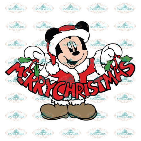 Mickey Mouse Santa with Word Christmas Svg, Cricut File, Christmas Svg, Clipart, Disney Christmas Svg, Mickey Svg
