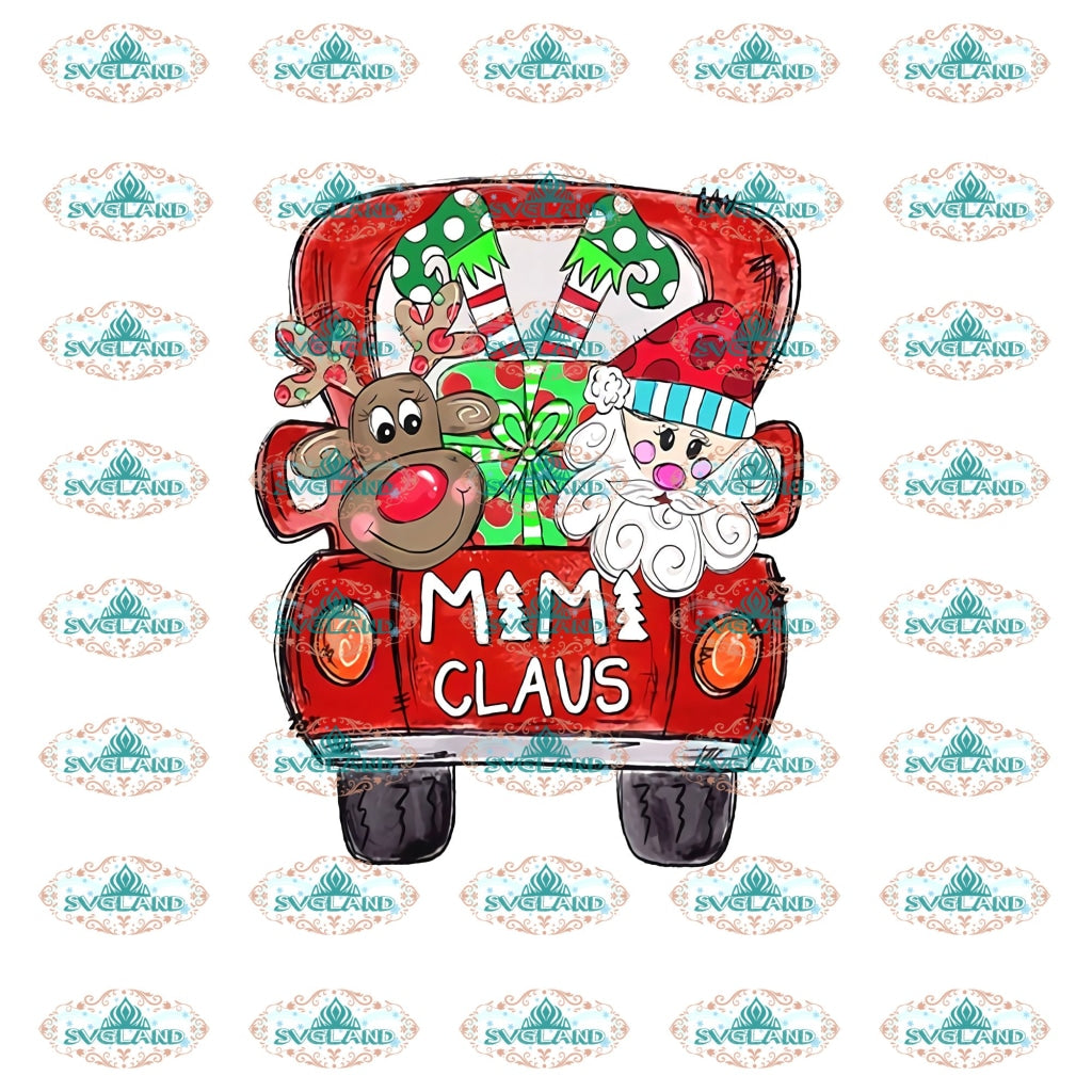 Mimi Claus Mimi Santa Hat Reindeer Christmas Car Winter Christmas Gift Outfit Ornament Png File