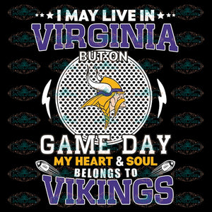 Minnesota Vikings Svg, Go Vikings Svg, I May Live In Virginia Game Day Svg, NFL Svg, Cricut File, Clipart, Leopard Svg, Sport Svg, Football Svg