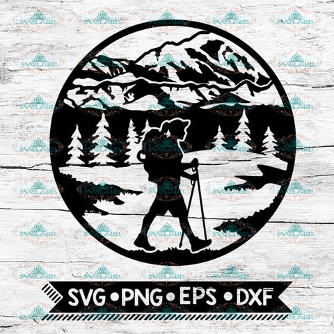 Mountain Scene Female Hiker Svg, Hiking Svg, Camping Svg, Cricut File, Svg