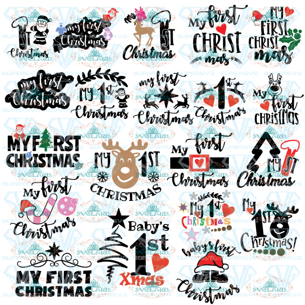 My First Christmas Svg Svg Bundle 1St Christmas Svg Cricut And Silhouette Cut Files Cutting Designs