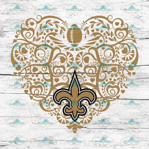 New Orleans Saints, Heart SVG, NFL Svg, Football Svg, Cricut File, Svg