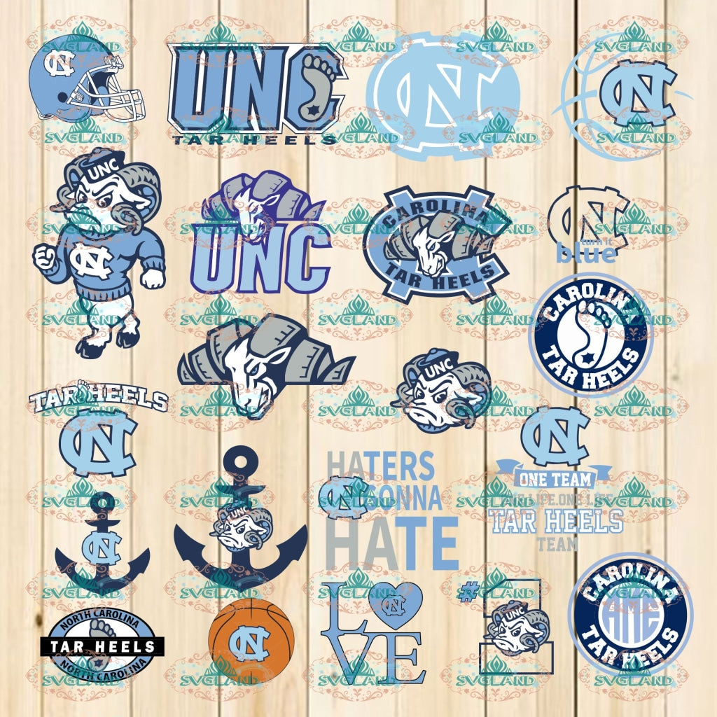 North Carolina Tar Heels Bundle File Svg Png Ncaa Dxf Basketball Vector Files Sports Lovers Game Day