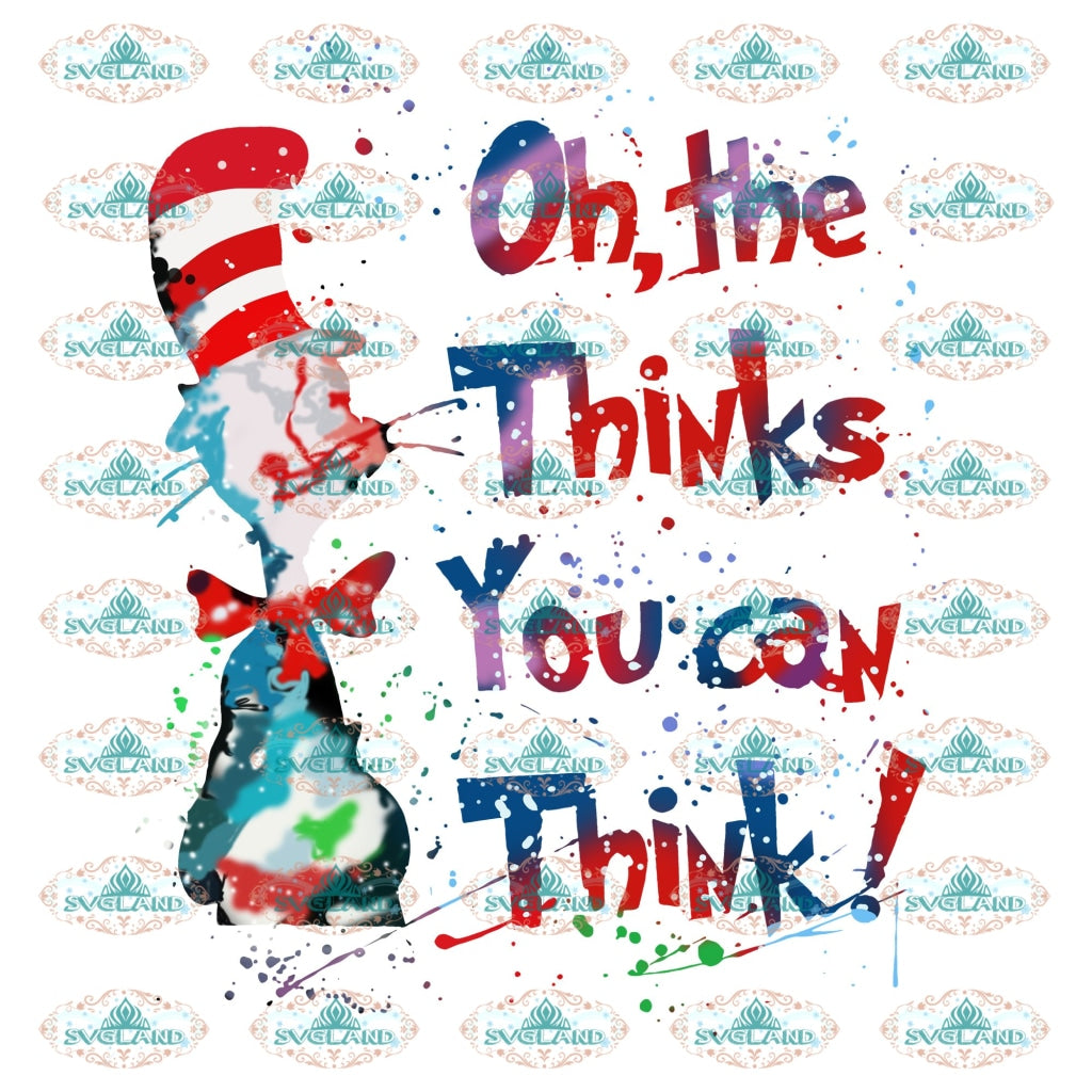 Oh The Thinks You Can Think Cat In Hat Grinch Dr Seuss Png Digital