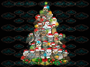 Owl Christmas Owl Christmas Tree Santa Claus Png Digital