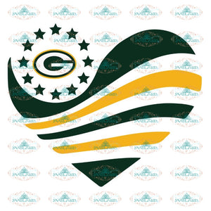 Packers Football Heart Star Svg, Green Bay Packers Svg, Packers Quotes, Cricut Silhouette, Clipart, NFL Svg, Football Svg, Sport Svg