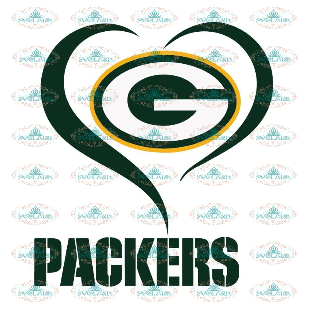 Packers Football Heart Svg, Green Bay Packers Svg, Packers Quotes, Cricut Silhouette, Clipart, NFL Svg, Football Svg, Sport Svg