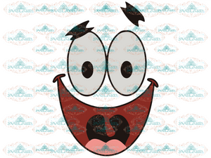 Patrick Sea Star Face Svg Smile Sponge Bob Vector Illustration - Svg Png Dxf Eps Ai Jpg Digital