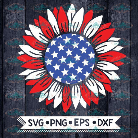 Patriotic sunflower Svg, 4th of july Svg, Sunflower Svg, American flag Svg, Cricut File, Svg