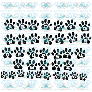 Paw Alphabet Svg Paw Font Svg Letters Numbers For Cricut Pet Digital