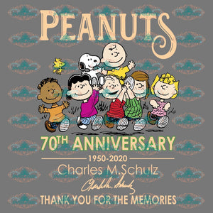 Peanuts 70Th Anniversary 1950-2020 Charles M.schulz Thank You For The Memories Peanuts Family Snoopy