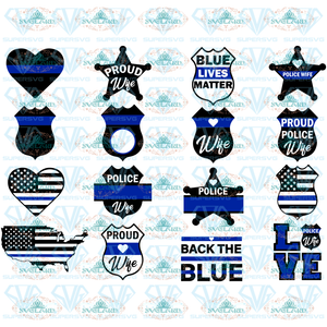 Police Wife Svg Monogram Badge Officer Back The Blue Thin Line Digital