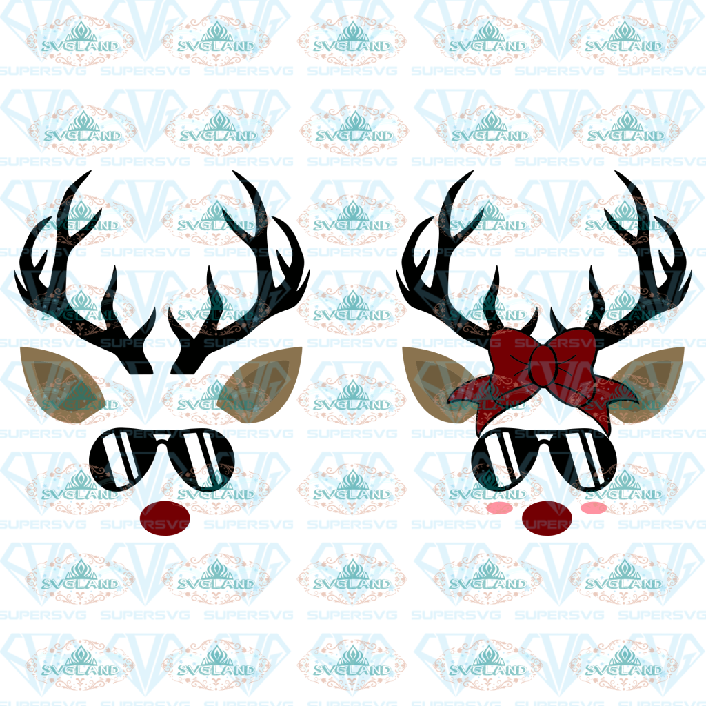 Reindeer Face Svg Head Family Shirt Christmas Rudolph Animal Holiday Digital
