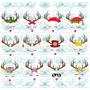 Reindeer Face Svg Head Rudolph Christmas Holiday Winter Design Dxf Digital