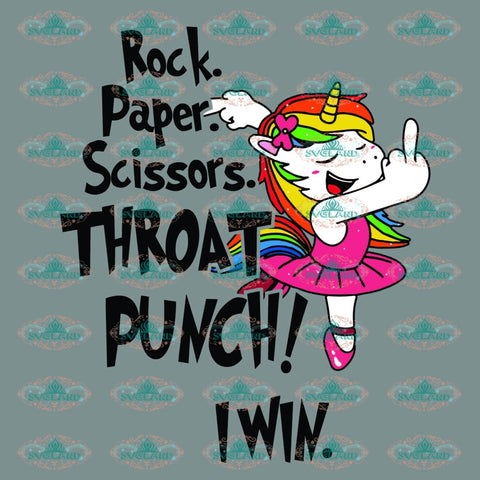 Rock Scissor Paper Throat Punch Unicorn Svg Funny Rock Lover Friend Gift For Best Friends Digital