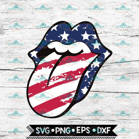 Rolling Stones Lips with Tongue Out Stars & Stripes Svg, American Flag Tongue Svg, Kiss Lips Svg, 4th of july, Cricut File, Svg
