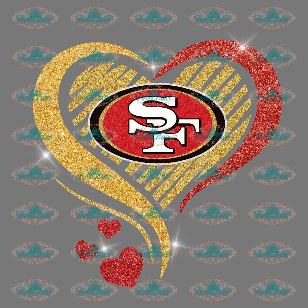 San Francisco 49Ers Heart Lover Shirt Footbal Football Fan Png Digital