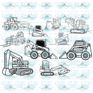Skid Steer Svg Skid Skid-Steer File Tractor Loader Skidder Silhouette Digital