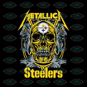 Skull Metallica Pittsburgh Steelers Svg, Cricut File, Clipart, NFL Svg, Football Svg, Sport Svg, Love Football Svg, Skull Svg, Png, Eps, Dxf