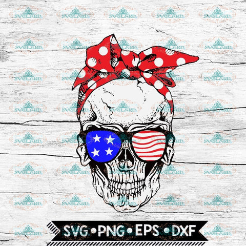 Skull Svg, 4th Of July Svg, Cricut File, Svg, American Flag