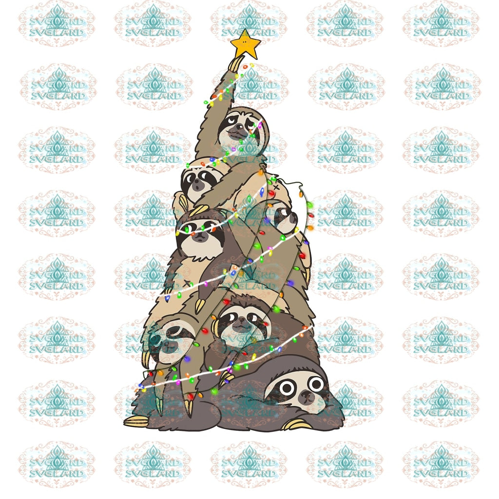 Sloth Tree Christmas Christmas Gift Outfit Ornament Png Digital