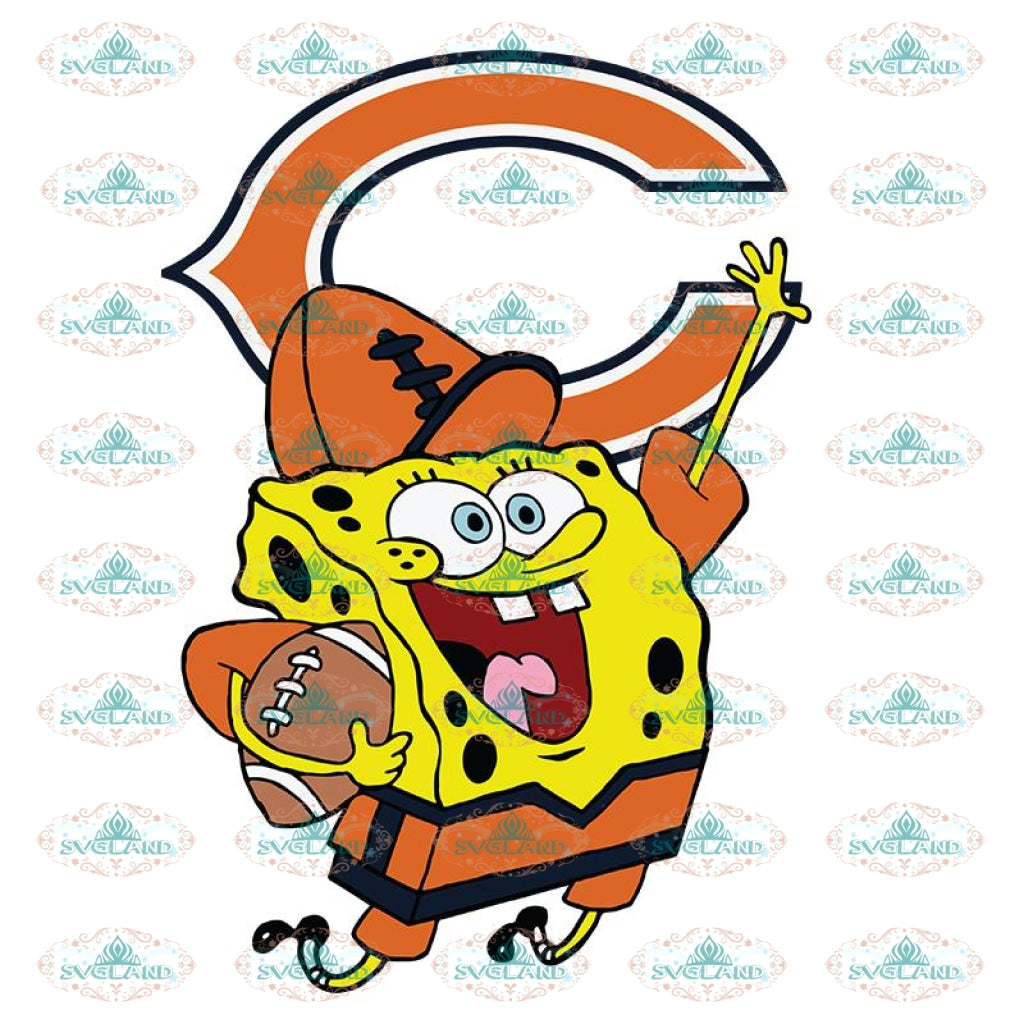SpongeBob Chicago Bears Svg, NFL Svg, Sport Svg, Football Svg, Cricut File, Clipart, Love Football Svg, Cartoon Svg, Png, Eps, Dxf