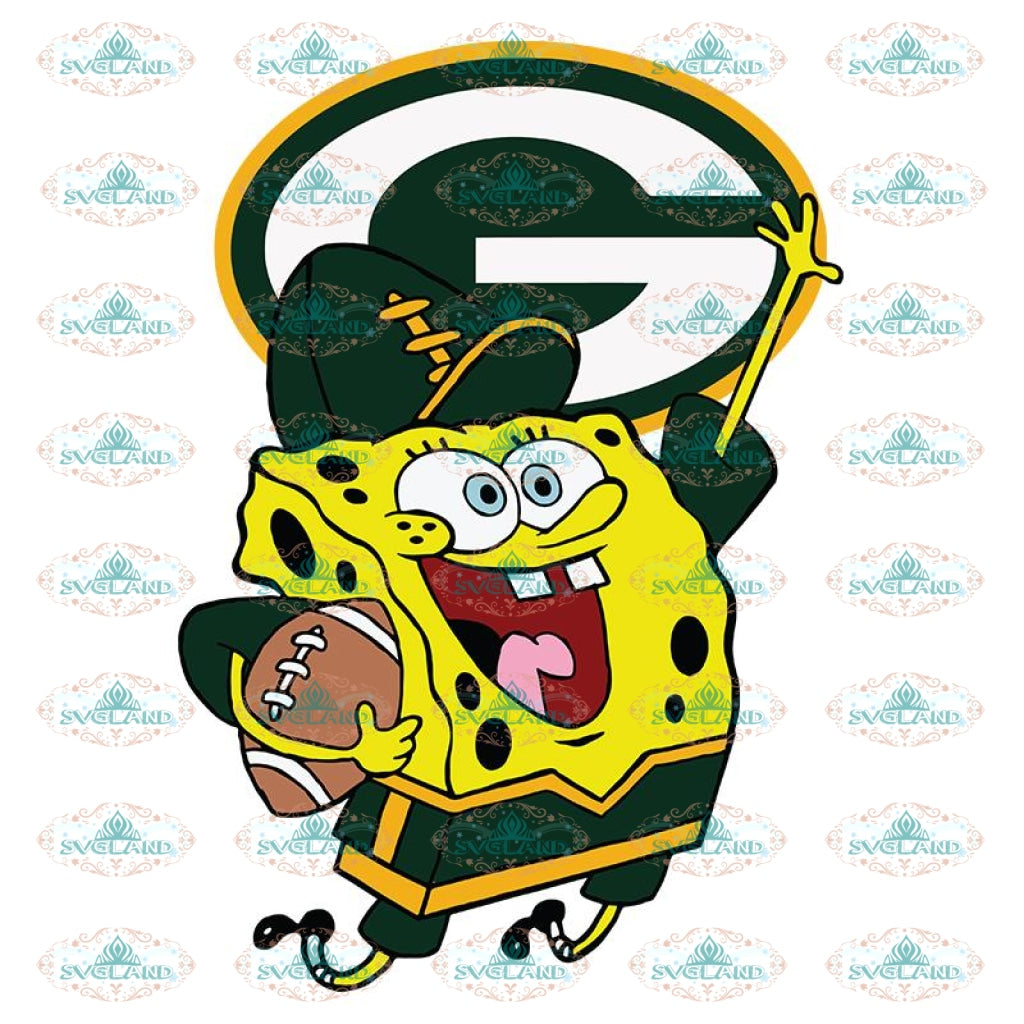 SpongeBob Green Bay Packers Svg, NFL Svg, Sport Svg, Football Svg, Cricut File, Clipart, Love Football Svg, Cartoon Svg, Png, Eps, Dxf