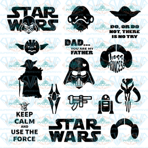 Star Wars Svg Darth Vader Master Yoda Princess Leia Inspired By Star Wars Bundle File Svg Digital