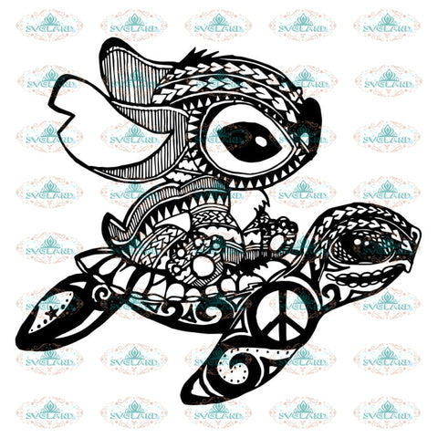 Stitch And Turtle Svg, Mandala Svg, Turtle Svg, Stitch Svg, Peace sign svg, Stitch riding a Turtle, Disney Svg, Cricut, Clipart