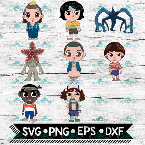 Stranger Things Svg, 8 chibi characters, Eleven, Mike, Will, Dustin, Lucas, Cricut File, Svg, Bundle