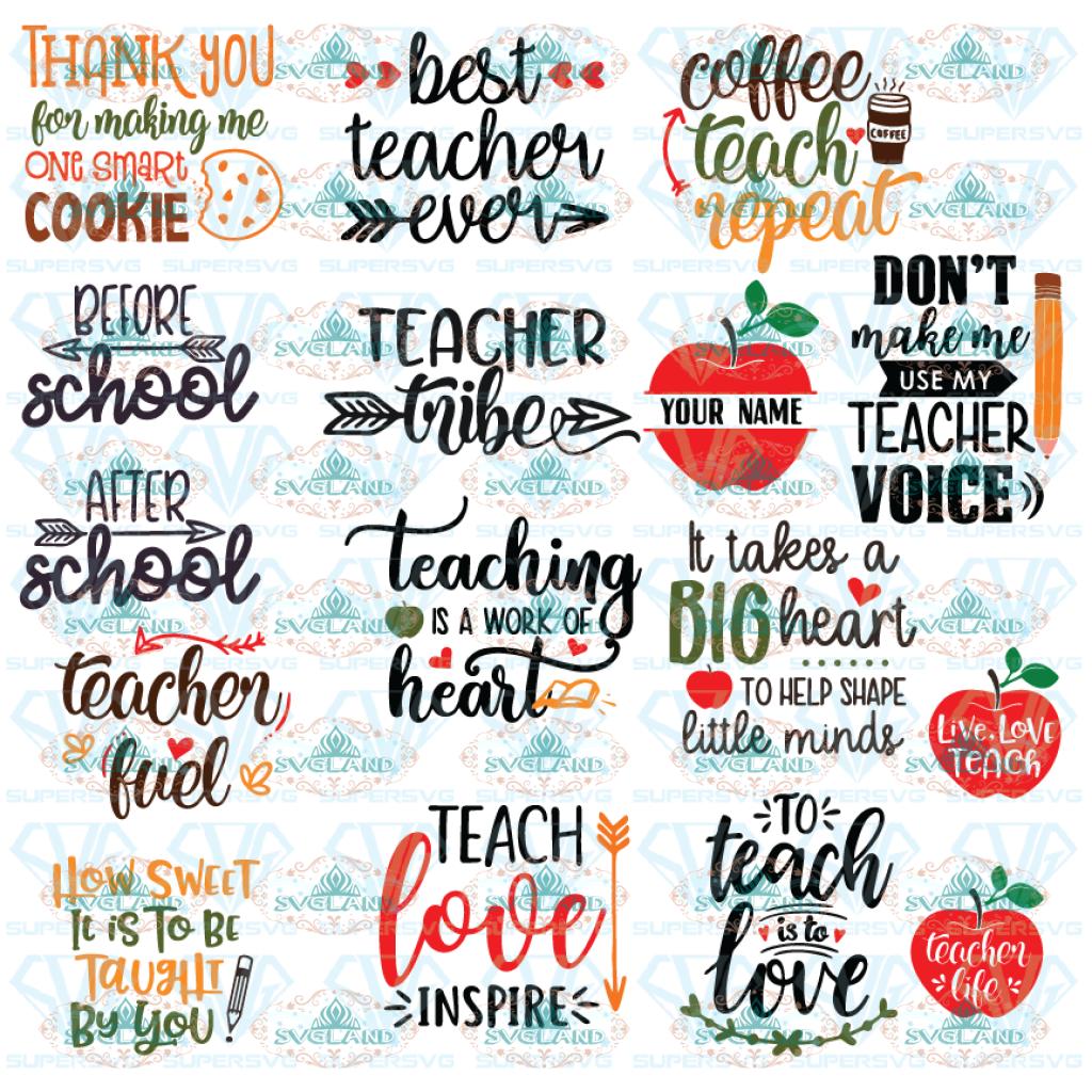 Teacher Svg Bundle Quotes Appreciation Teachers Gift Love Teaching Digital