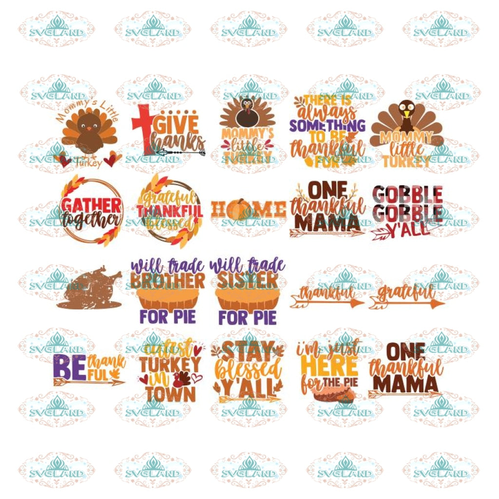 Thankful And Blessed Svg, Give Thanks Svg, Thanksgiving Svg, Turkey Svg, Bundle, Cricut File, Cake Svg, Quotes 2