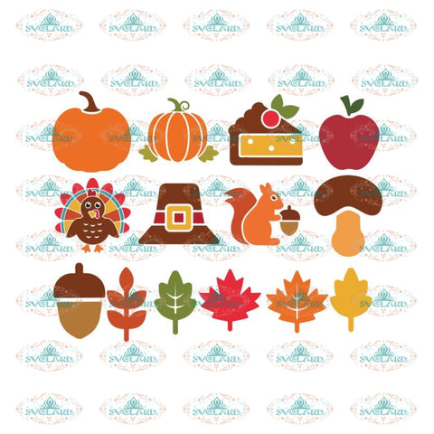 Thanksgiving Svg, Bundle, Gobble gobble Svg, Thankful Svg, Turkey Svg, Cricut File, Clipart, Leaf Svg