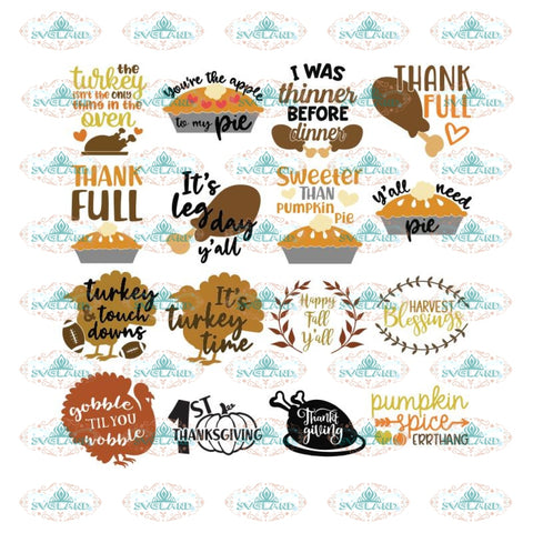 Thanksgiving Svg, Bundle, Gobble gobble Svg, Thankful Svg, Turkey Svg, Cricut File, Clipart, Leaf Svg, Cake Svg