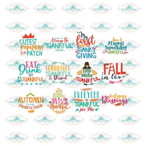 Thanksgiving Svg, Bundle, Gobble gobble Svg, Thankful Svg, Turkey Svg, Cricut File, Clipart, Leaf Svg, Quotes 2