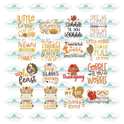 Thanksgiving Svg, Bundle, Gobble gobble Svg, Thankful Svg, Turkey Svg, Cricut File, Clipart, Leaf Svg, Quotes