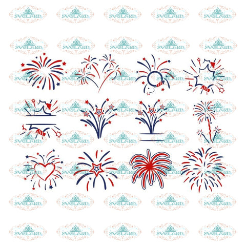 the Fireworks SVG Monogram Quotes Bundle 4th of July svg dxf eps jpeg png format layered cutting files clipart die cut cricut silhouette